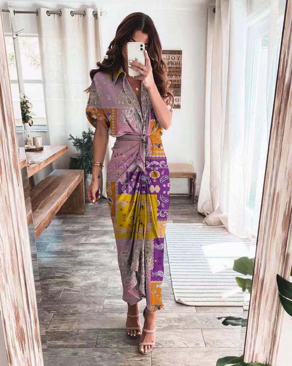 2021夏季新款衬衫长裙亚马逊MM21696独立站时尚印花连衣裙12花4码