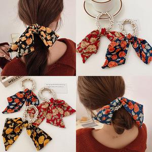 2pcs hair tie Bowknot, pearl flower scrunchies, retro French Ribbon Headband, super fairy hairband for female