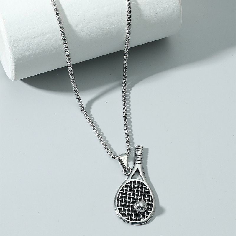 Fashion tennis racket alloy necklace wholesale NHACH336539