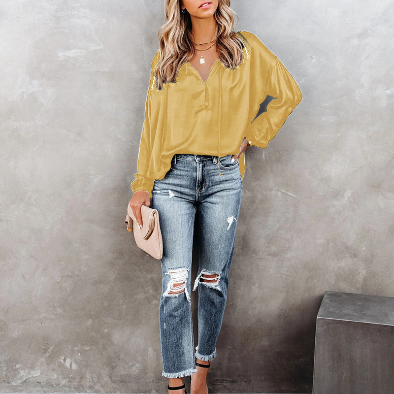 solid color V-neck horn-sleeved casual top  NSKX36815
