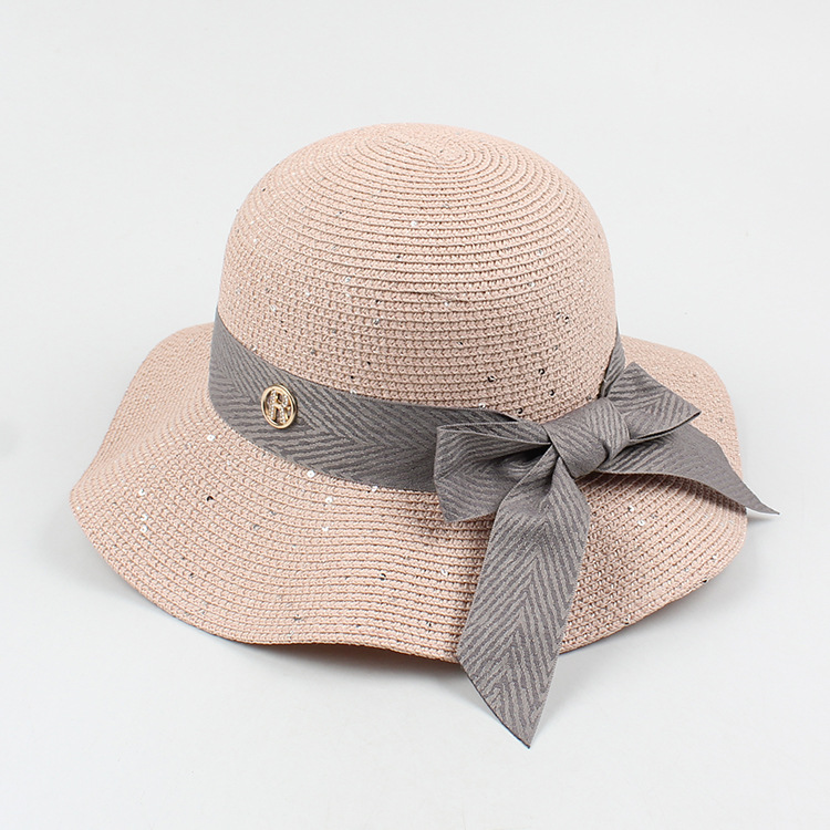 Fashion bowknot wave side foldable sunscreen straw hat NHXO336729