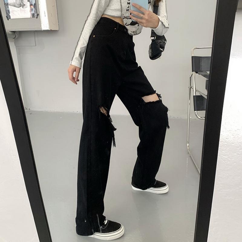 破洞拖地裤子女直筒裤秋季宽松复古网红黑色牛仔裤显瘦阔腿裤长裤