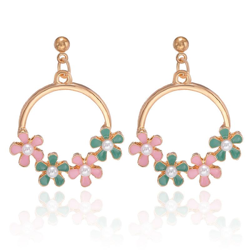 Korean wild alloy inlaid pearl earrings  NHPF306010