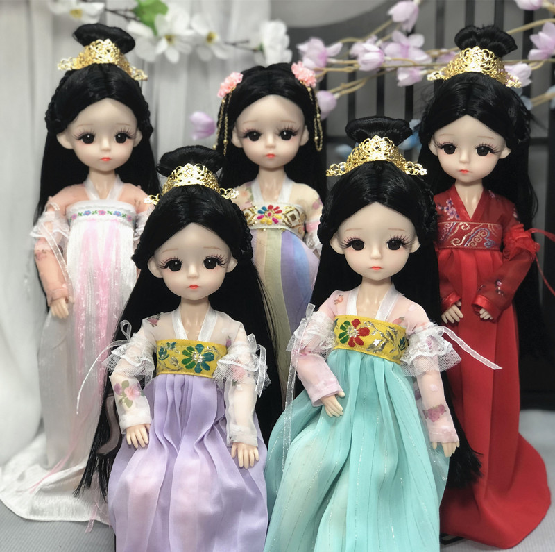 30cm simulation fairy doll girl toy multi-joint dress up baby clothes hanfu princess toy birthday gift Chinese style fairy