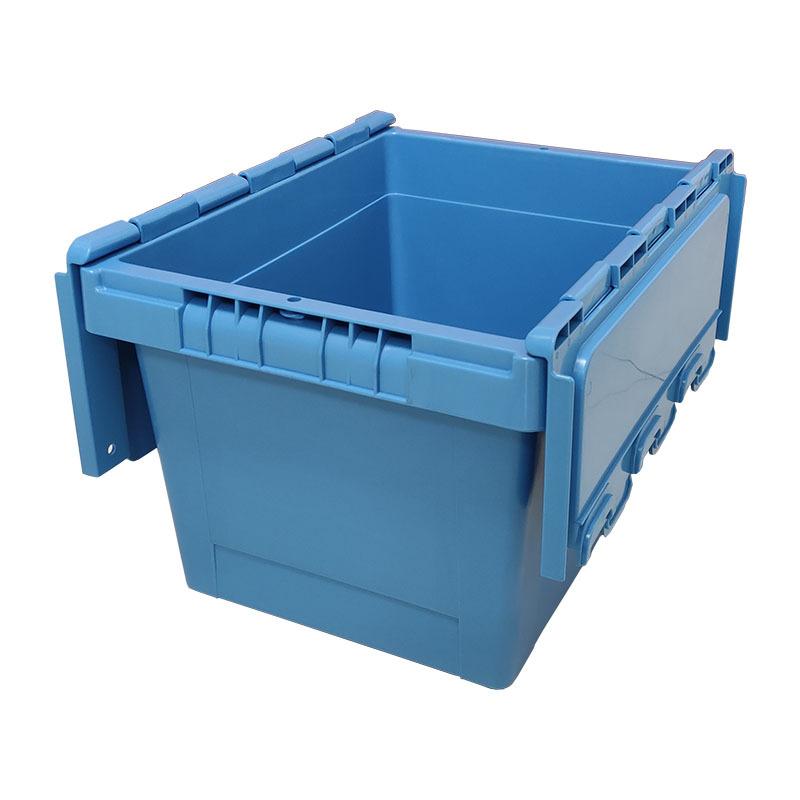 400.300.260斜插式物流周转箱  20L可套叠带翻盖塑料斜插箱
