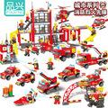 消防警察DIY创意积木品兴儿童玩具兼容乐高积木玩具跨境批发