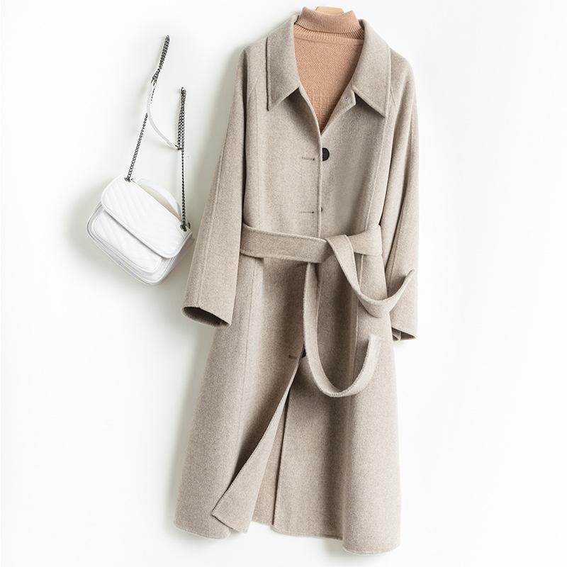 2021新纯羊毛呢子大衣女长款腰带款外套纯色显高显瘦外衣一件代发