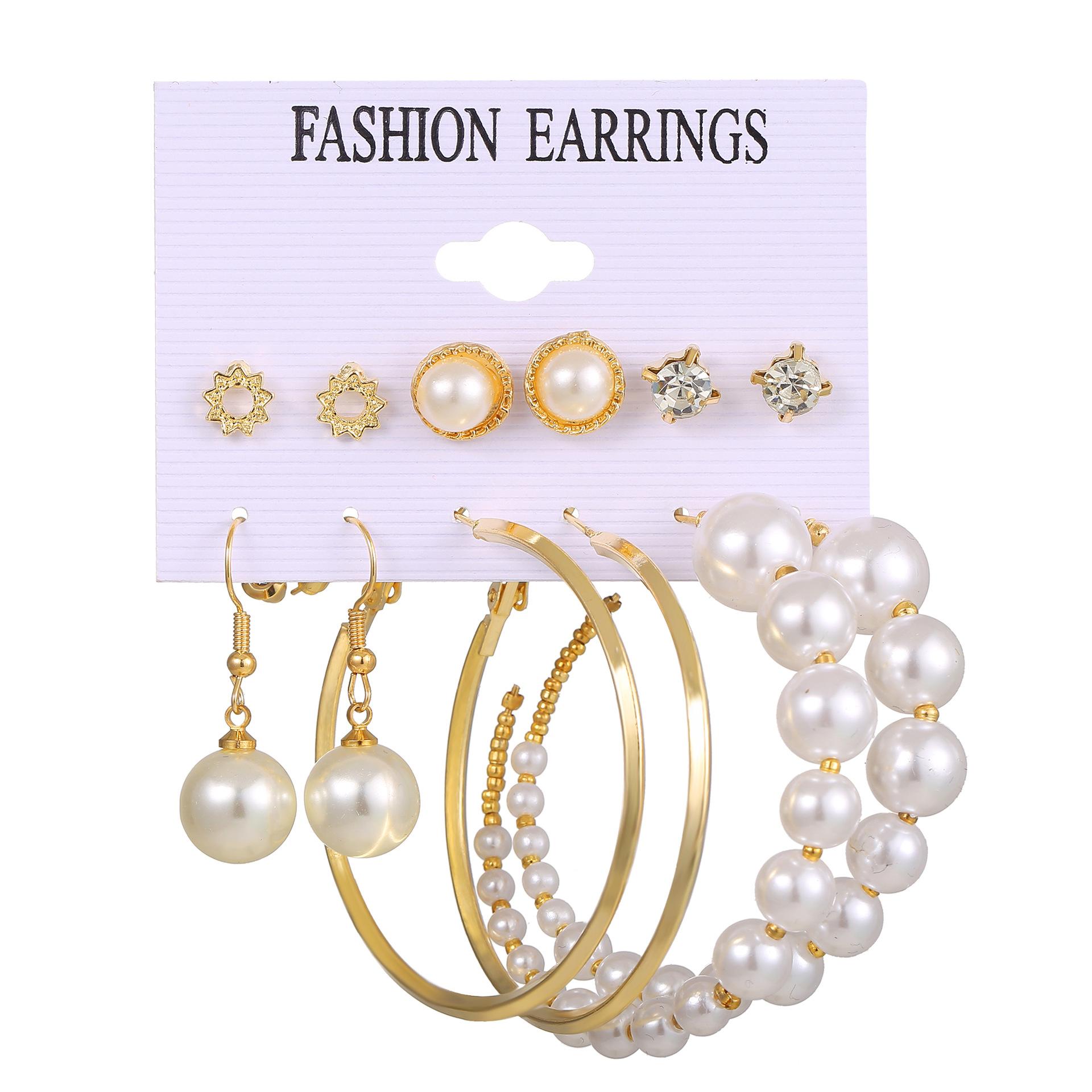 creative simple geometric metal acrylic pearl tassel earrings set  NHPJ355346