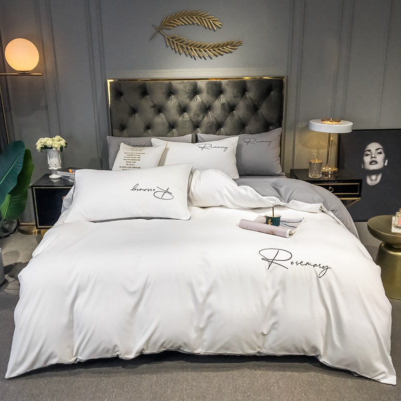 Nordic Washed Cotton Four-piece Solid Color Embroidery Bed Linen And Three-piece Bedding