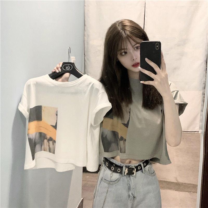 网红短袖t恤女上衣短款学生韩版宽松2021年夏季新款心机露脐ins潮