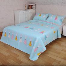 韩式双面斜纹纯棉儿童卡通床盖夹棉加厚防滑床单床垫三件套空调被