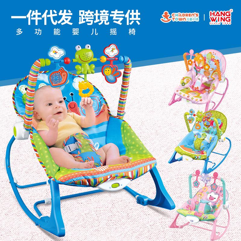 跨境热销电动安抚婴儿宝宝摇椅哄睡多功能音乐儿童躺椅带震动音乐
