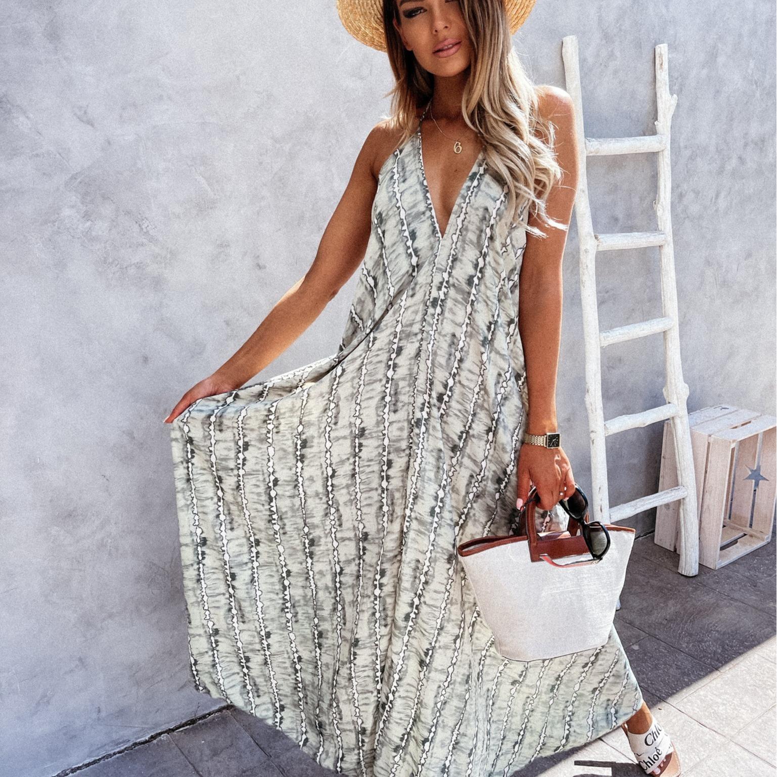 亚马逊欧美女装2021夏季新款性感露背沙滩裙 无袖吊带V领连衣裙