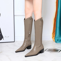 009-7 in Europe and the thick with high boots with wood grain with pointed retro knight new sleeve female high boots in winter