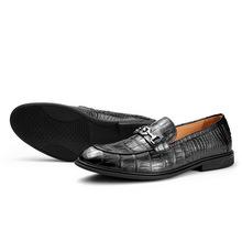 【一双起发】鳄鱼皮皮鞋商务休闲男式皮鞋现货尖头低帮单鞋2021款