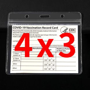 Cross-border transparent waterproof CDC US vaccination card holder 4×3 epidemic prevention document holder work card PVC protective cover