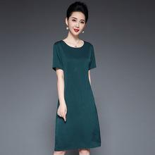 品牌闊太太真絲連衣裙2021媽媽夏裝新款高檔寬松桑蠶絲中長裙子薄