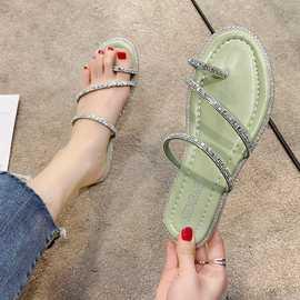 2021夏季新款韩版套趾一字带平底拖鞋外穿水钻凉拖鞋时尚女鞋批发