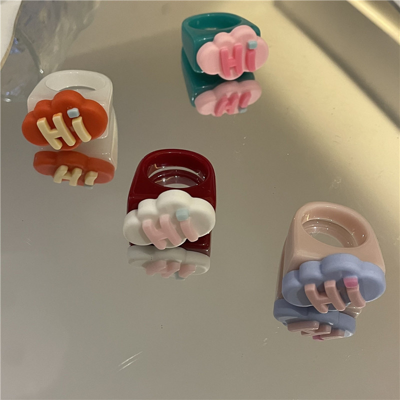 fashion letter color candy color resin ring NHYQ363373