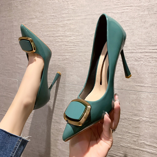 6999-2 in Europe and the sexy pointed shallow mouth high-heeled shoes heel side buckle web celebrity women's shoes joker professional OL for women's shoes