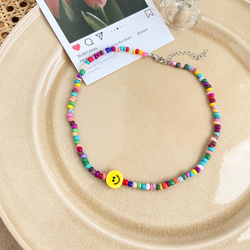 Fashion Yellow Smiley Rice Bead Necklace Wholesale Nihaojewelry NHPJ421333