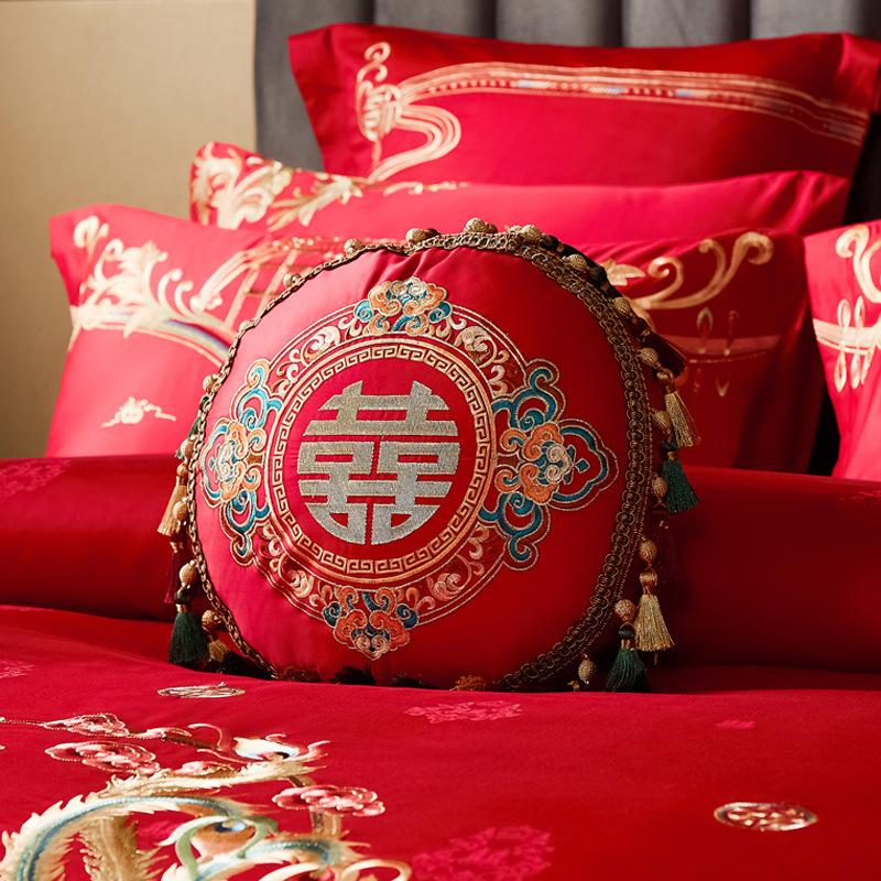 婚庆配件小抱枕大红色新房子孙靠垫枕头含芯喜庆结婚陪嫁 一个装