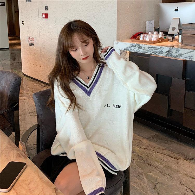 2021韩版V领毛衣女学生宽松显瘦中长款学院风