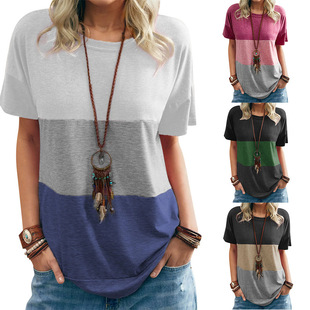 2021 Amazon European and American women's new spring and summer color matching round neck loose bat short sleeve pocket three-color T-shirt