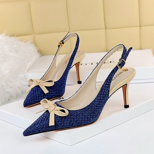 8999-7 han edition fashion knitting shallow pointed mouth after color matching small bowknot is hollow-out strappy shoes