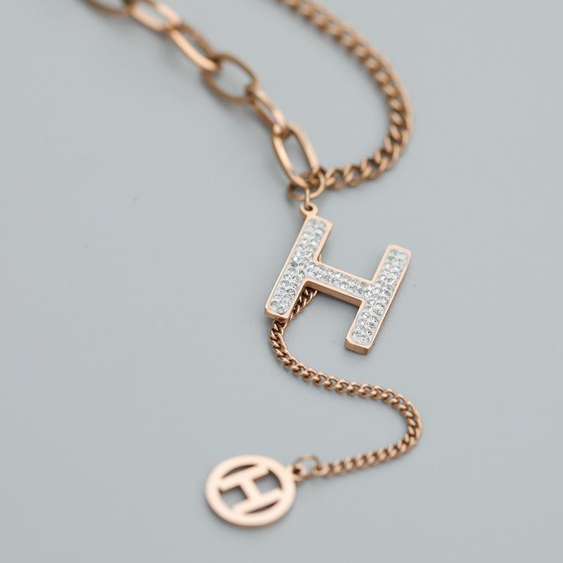 Diamond letter H titanium steel tassel necklace pendant short clavicle chain NHQIY368647