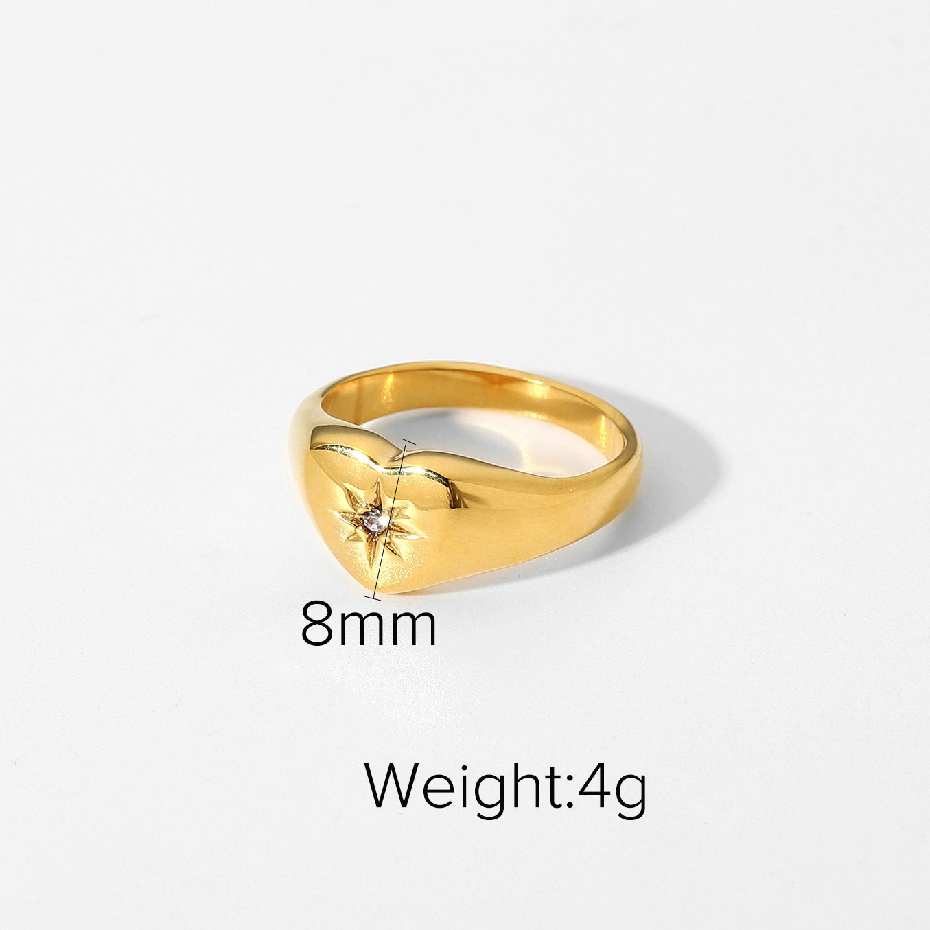 fashion zircon eightpointed stainless steel star ring   NHJIE357198
