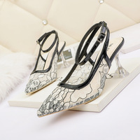 8808-2 han edition fashion network light pointed mouth high-heeled shoes a word with sexy red female sandals with web celebrity for women's shoes