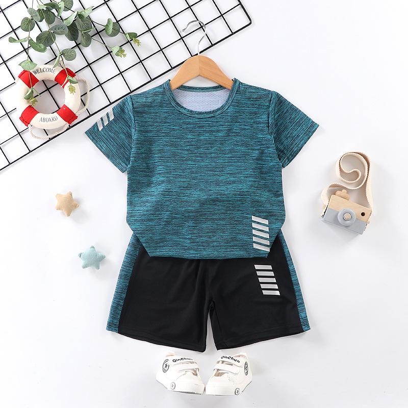 儿童短袖套装跑步运动服休闲速干衣男女童夏季新款T恤短裤两件套