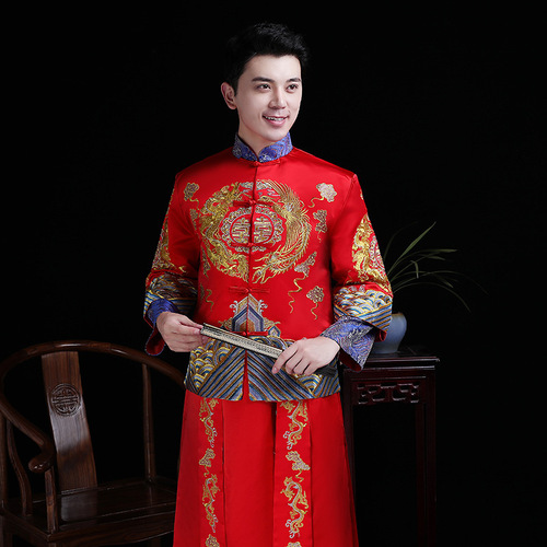 Xiuhe Chinese traditional wedding film cosplay clothing for male Groom dress Chinese wedding wedding robe Tang suit Chinese style Hanfu china dragon ancient gown