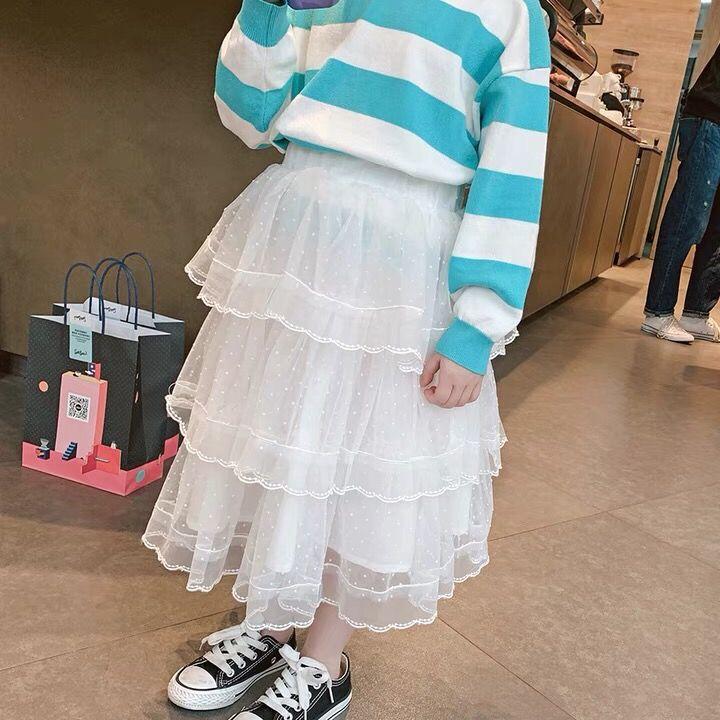 2021童装2021女童洋气半身裙长裙儿童春装韩版纱裙女大童蛋糕裙裙