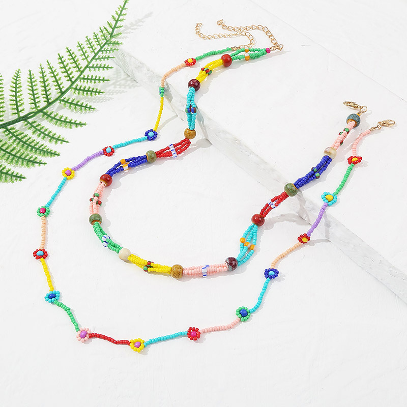 wholesale jewelry bohemian style woven beads flower multilayer necklace wholesale jewelry  NHLA384967