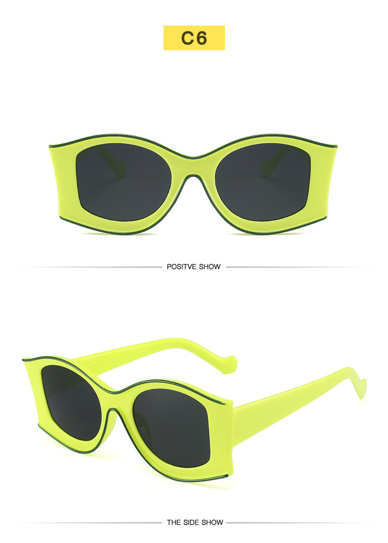 new simple contrast color concave frame sunglasses NHBA311477