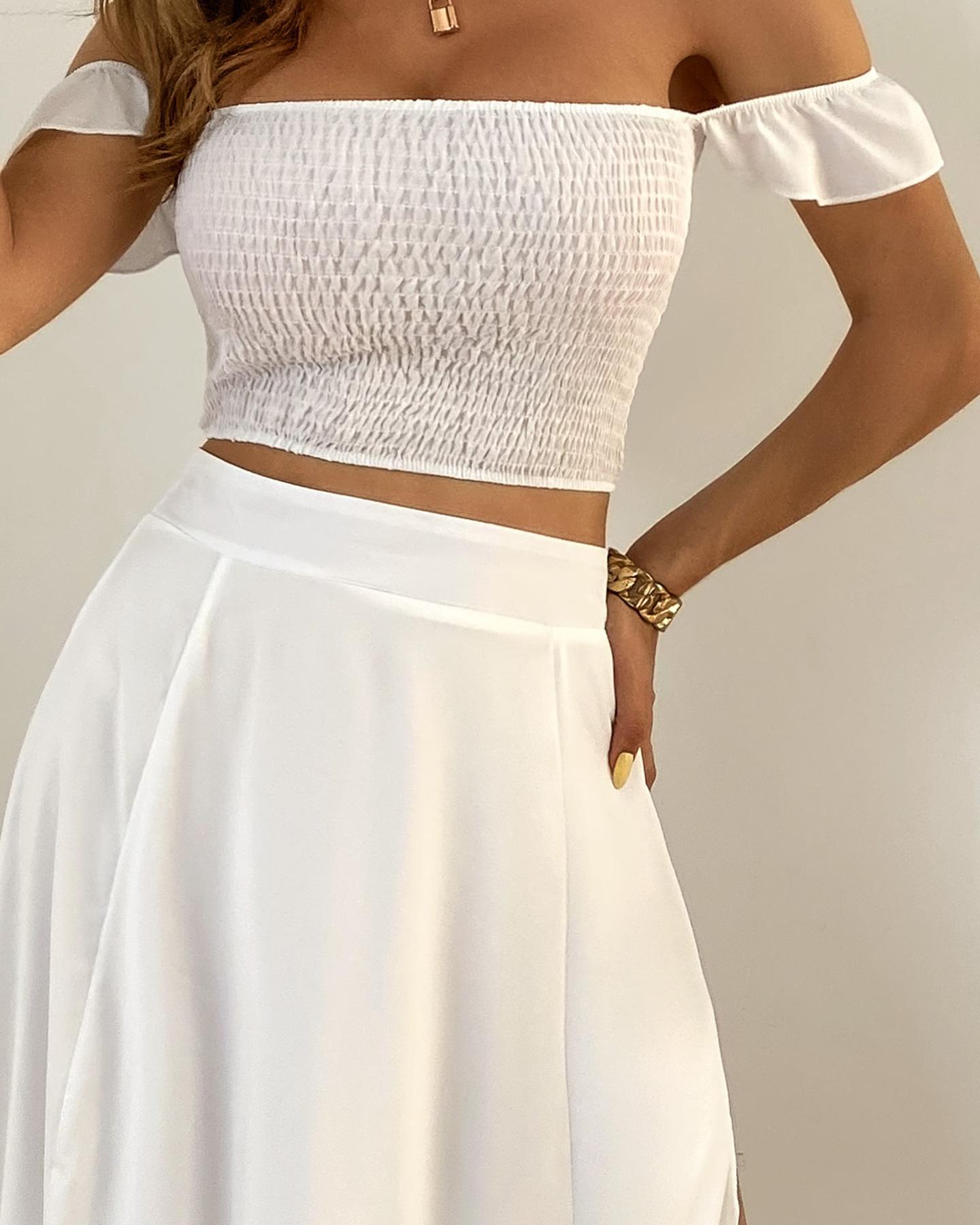 bohemian print mid-length retro tube top skirt set NSFM59021