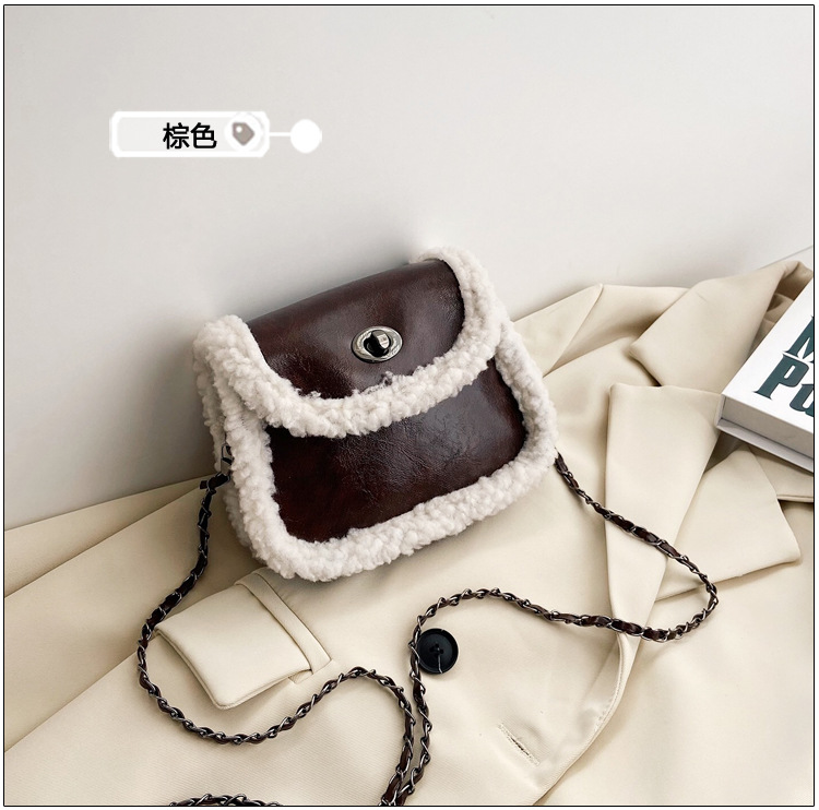 Plush new trendy lamb saddle bag NHRU300440