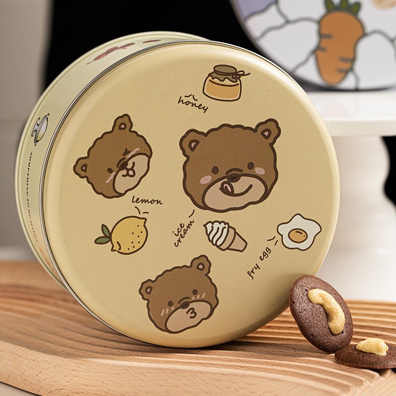 马口铁盒曲奇饼干包装盒糖果礼品罐金属盒圆形收纳礼品盒小铁盒子