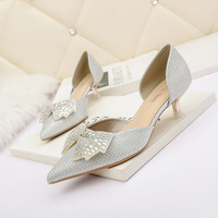 8008-5 han edition fashion pointed shallow mouth show thin hollow out the stiletto heel bowknot sexy women's shoes for women's shoes