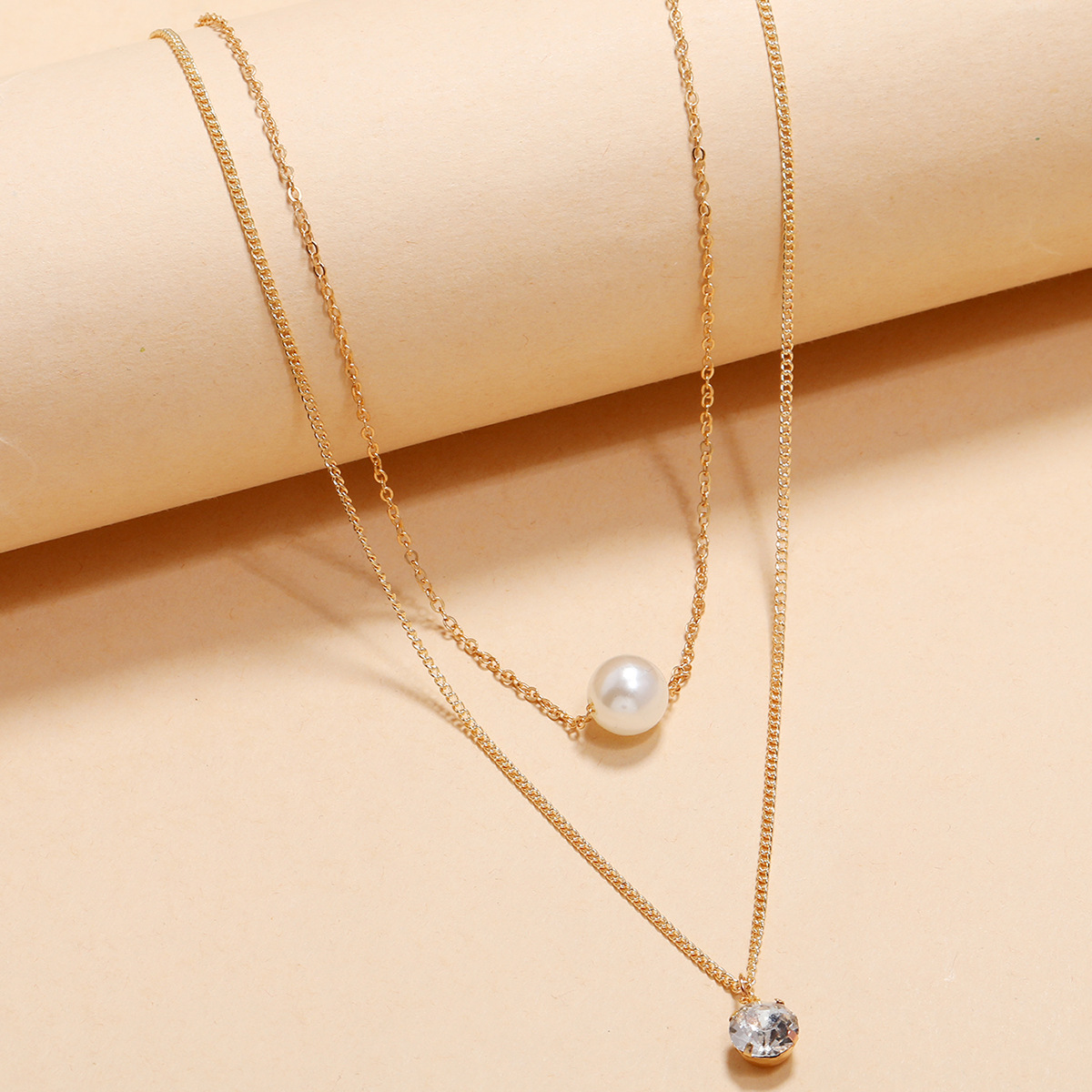 fashion double layered imitation pearl necklace  NHPV303464