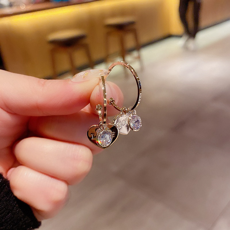 Fashion Real Gold Plated Love Micro-set Zircon Earrings In Real Gold