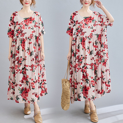 Women plus size Casual Dresses art RETRO belly covering cotton hemp printed short sleeve round neck dress
