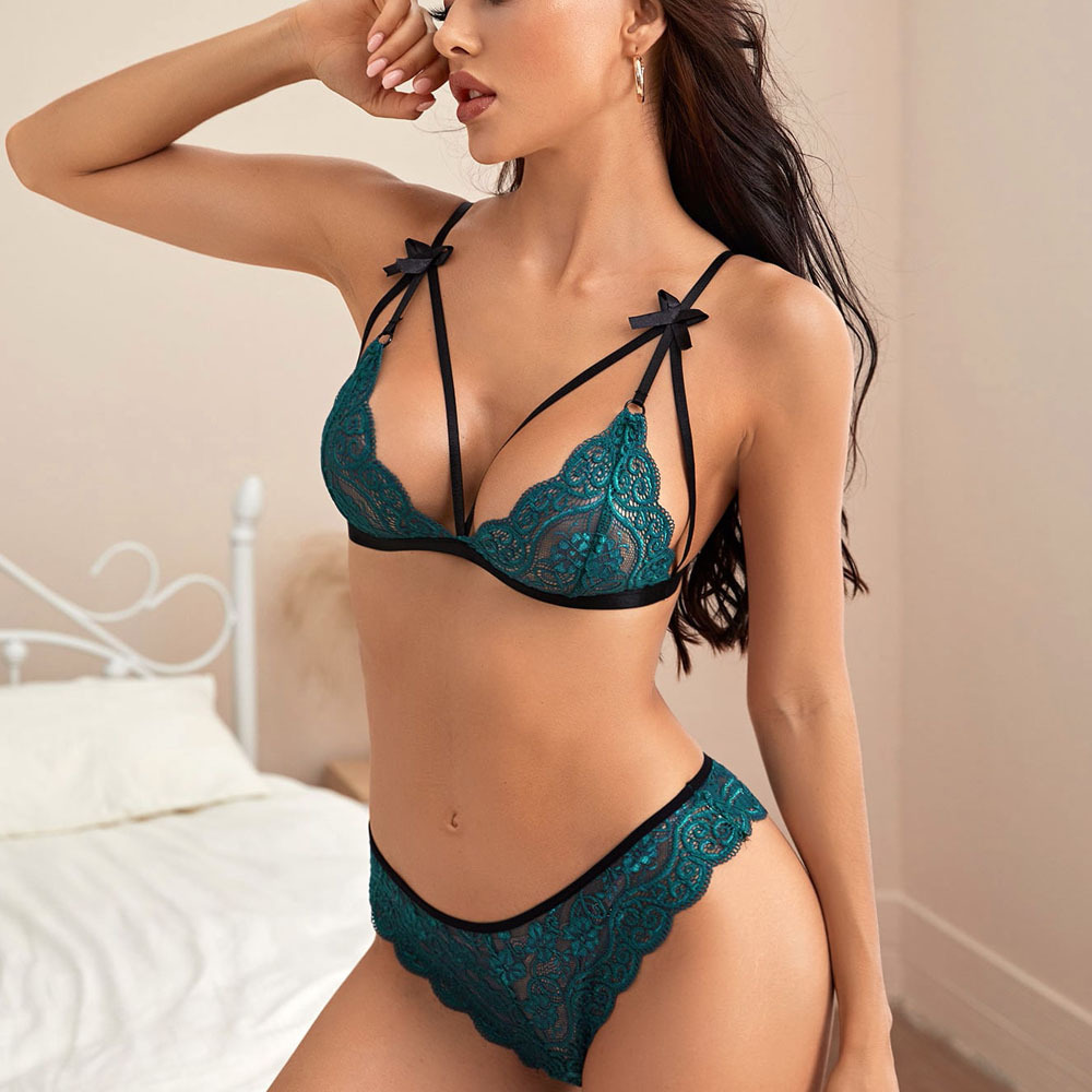 sexy three-point lace see-through two-piece lingerie set NSYO52502