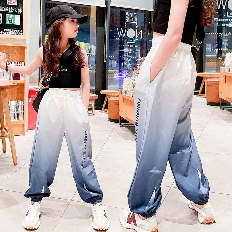 男女童夏季冰絲薄褲2021新款垂感寬松束腳漸變色長褲中大童韓版潮