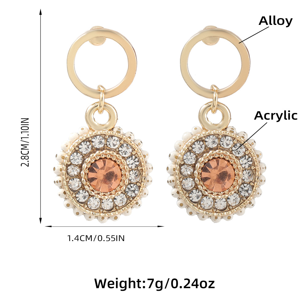 round acrylic diamond earrings  NHJE316616