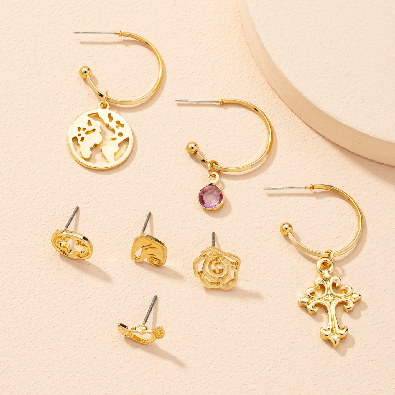 fashion heart flower earrings 7-piece set NHAI303551