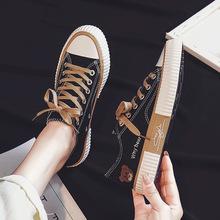 小熊帆布鞋女2021春季新款二次硫化球鞋韩国学生小白鞋系带板鞋潮