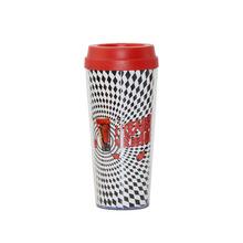 批发16OZ双层插镭射纸广告杯 透明塑料杯 随手杯 水杯 双层冷饮杯